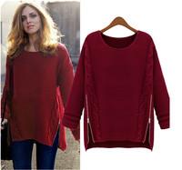 Women vintage wool knitted hemp flower long sleeve pullovers side zipper loose women casual sweater 2014 winter warm sweater