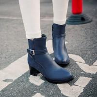 2014 new arrive fashion Belt Buckle women's boots martin boots plus  short boots big size C54