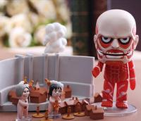 "1Set Nendoroid 4"" Q version Attack on Titan Colossal Titan PVC Mini Action Figure Toy Doll Model"