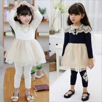 2015 girl dress Korean autumn long sleeves upscale Children's Dresses 14SEPT95