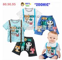 Retail 1set 2014 Amoi animal cartoon baby cotton round neck T shirt + strap fake cartoon pants suit