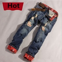 Fashion 2014 Brand long Denim Men designer jeans Cotton Slim Straight Jeans Men disel Casual Fit Ripped Torn Men Jeans Pants
