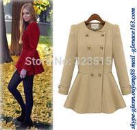2014 Hot Sales Womens Winter Warm Slim Long Sleeve Woolen Long Coat Jacket Parka Outwear