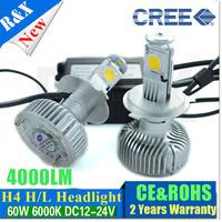 Free shipping New arrival 2014 H4 High Low car led headlight H4 led bulbs 9v-24v DC 40W 4000LM led car headlight h4
