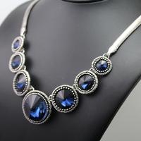 Europe and the United States fashion blue round Charm Rhinestone Choker Shourouk Necklaces N14004