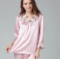 Sexy Mulberry Silk Sleepwear Pajama Sets Lace Twin Sets Three Quarter Sleeve Super Quality L XL XXL