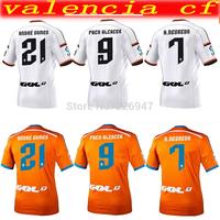 valencia cf  2015 thai quality soccer jersey camiseta valencia shirt home white valencia jersey away orange valencia 14 15