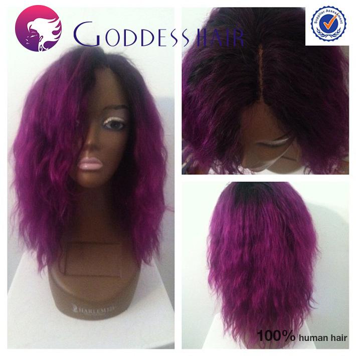 Black And Purple Human Hair Wig 91