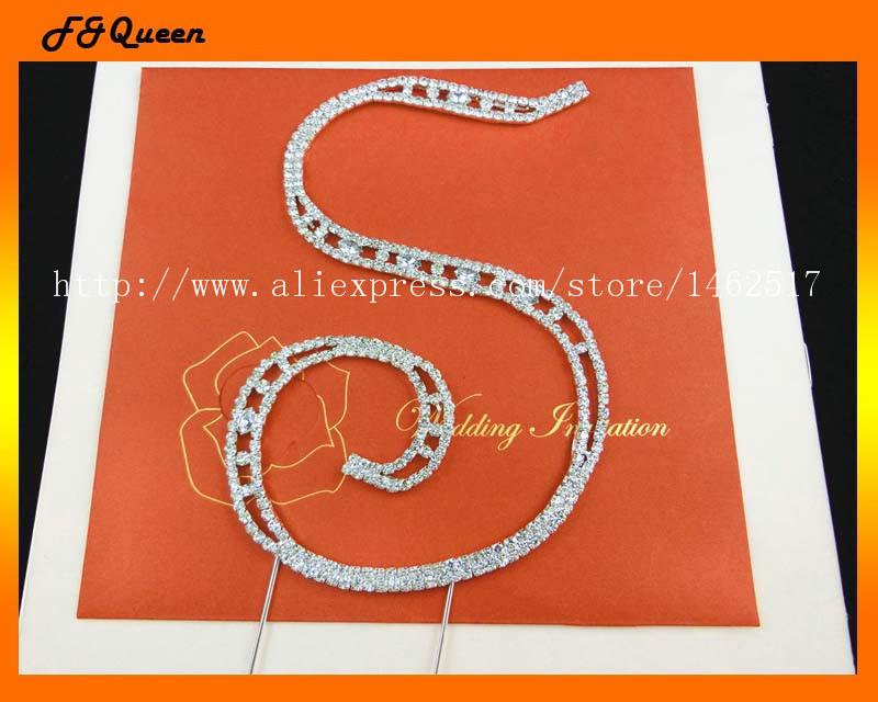 Free shipping! Alphabet 'S' rhinestone cake decoration,15*10.2cm ,50pcs/lot(China (Mainland))