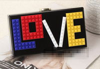 New Arriving Acrylic Clutch Bag Hard Case Love Fashion Women Accessories