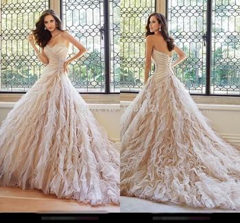 2015 потрясающие бисероплетение милая софия софии толли суд поезд свадебное платье линии сад узелок Champange свадебные платья