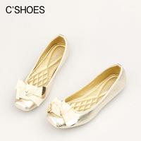 Shoes women autumn small bow ribbon square toe flats flat-bottomed retro ballet shoes women flats princess shoes