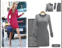 Free size Women fashion Winter Autumn sweater dress Casual long sleeve Party Dresses Solid Knitted Warm dress vestido  LJ132XGJ