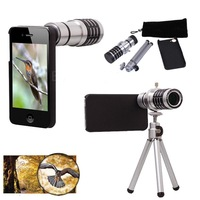 Free Shipping!! Aluminum Shell 12X Zoom Phone Camera Telephoto Lens Telescope + Tripod Holder + Case For iPhone 5 5S 5G Silver