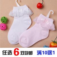 Female child laciness socks 100% cotton lace ruffle thin solid color princess socks 0-1 2 3 - - - - - 4 5 6