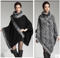 Hot-selling New 2014 Autumn winter Women's Clothing fur shawl fur collar knitted cloak Ma Haimao Cape sweater women cardigan