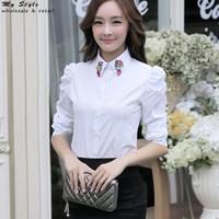 2014 Fashion Work Wear Ladies Shirt Formal Female Clothing Plus Size Long Sleeve Women Tops Slim Elegant Chiffon Blouse 2043