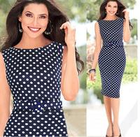 Plus Size  Casual Elegant Dresses Women Sleeveless Party dress Vintage Prom Polka Dot Printed Dresses free shippingLJ133XGJ