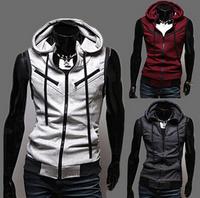 Casual College Style Vest Jackets Hoody Sportswear For Men M-3XL