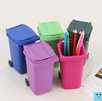 2014 four colors Creative multifunctional Mini Wheelie Bin Pen Pot in Office pencil pen case/holder  FREE SHIPPING E905