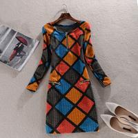 2014 Autumn Winter Women Dress New Arrival Fashion Vintage Elegant High Quality Bohemian Print casual novelty Dress SY2558