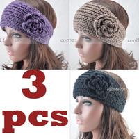 3PCS Popular Headwear Winter Flower Knit Headband Headwrap Ear Warme,FREE SHIPPING