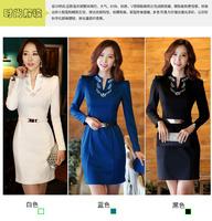 New 2014 New 2014 spring summer women dress fashion casual women clothes plus sizeoffice dresses long-sleeve dress send belt
