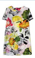 European Popular Flowers Print Girl Chiffon Dress Short Sleeve O Neck Women Quality Dress YS93063