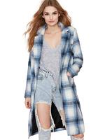New 2014 Autumn/Winter Fashion Women's Designer Female Coat Casual Blue White Plaid Long Sleeve Woolen Mid-Long Coats Outerwear
