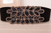 2014 New Korean Version Of The Luxury Crystal Beaded Belt Ms. Wild Flowers Dress Belt Cintos Femininos Elastic Belts For Women