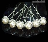 Fashion Jewelry 6PCS Wedding Tiaras & Hair Accessories Crystal Pearl Hair Pins Cheap Head Piece