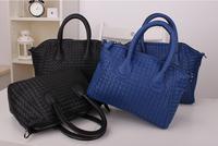 2014 New Fashion Women Handbags Quality PU Leather Woven Tote Elegant Lady's Messengers Bat Smiley Bags Bolsas Femininas Purses
