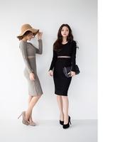 2014 net yarn stitching tight package hip long section of women's dress women's long-sleeved shirt tide