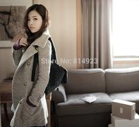 2014 autumn & winter Korean Women Slim WARM wool coat female double-breasted long sections woolen coat ladies big size outwear