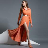 Fashion vintage brief long-sleeve shirt dress sexy placketing full dress elegant chiffon one-piece dress 9174
