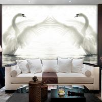 Modern brief tv sofa ofhead swan lake 3d three-dimensional large eco-friendly mural