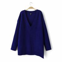 Free shipping 2014 New Fashion Winter Women Wool Sweater Thick Knitting Long-sleeved v-neck irregular hem pullovers in women