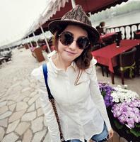NEWS fashion The new retro round sunglasses female big box European and American fashion sunglasses HYL175