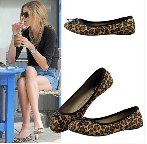 2014 New Fashion Casual Bowknot Leopard Single Women Flat Work Shoes Dance Shoes(China (Mainland))