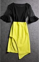 2014 New Summer Casual Women Elegance Bow Pleated Chiffon Vest  European and American big retro horn sleeve Slim  sexy dress