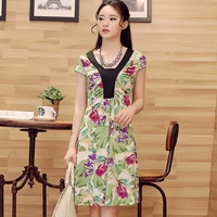 Free shipping! 2014 summer fashion gentlewomen flower patchwork color block one-piece dress! 30934579