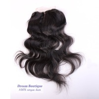 Free shipping,Brazilian Lace Closure Bleached Knots Virgin Human Hair Closure Center/Middle Part Loose wave Brazilian Closure