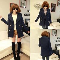 Q1019 2015 Campus Style Korea Vintage New Fashion Autumn Winter Double Breasted Coat Outerwear Lapel Slim Navy S/M/L/XL