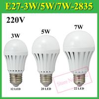 High Brightness 3W 5W 7W SMD 2835 AC 220V LED Bulb Lamp With E27 E14 GU10 Base ,Warm White / Cold White Light , 2Pcs/Lot