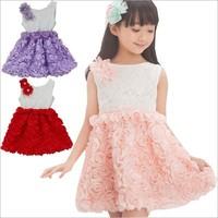 2015 Summer Rose The stereo flower Chiffon girl dress Children's Dresses 3 color enough stock 14SEPT129