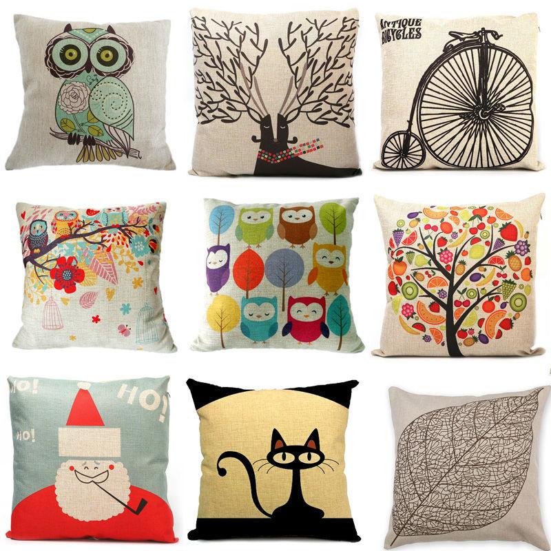 "Decorative Sofa Cushion Cover Throw Pillow Case 18"" Vintage Decorbox Cotton Linen Square Cute Cartoon Owl #ZH131(China (Mainland))"