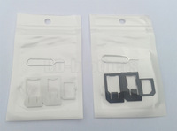 4 in 1 Nano Sim Card Adapter + Sim Card Tray Eject Pin Key, Micro Sim adapter Class for iPhone 4/5/6 (4000pcs) 1000sets/lot