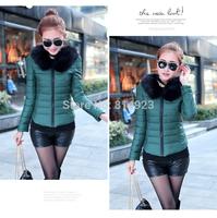 Winter Korean women wild down cotton coat female Luxury fur collar youth fashion down jackets ladies big size Puff Sleeve parkas