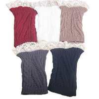 Free Shipping Fashion Crochet Leg Warmer Women Lace Knit Boot Cuffs  5 colors