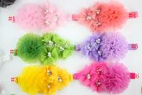 40pcs/lot  Chiffon Fold Mesh Flower With Triple mesh pearl Flower  Headband